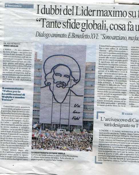 Il Papa a Cuba: Repubblica scambia Cienfuegos per un prete