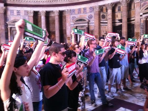 Blockupy Fornero a Piazza del Pantheon