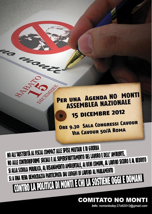 15/12 AGENDA NO MONTI – Assemblea a Roma