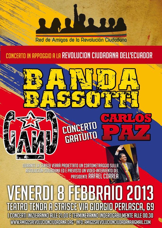 8 febbraio concerto a Roma in appoggio della REVOLUCION CIUDADANA dell'Ecuador