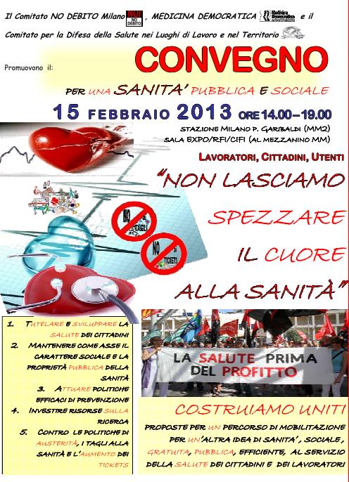 Non spezziamo il cuore della sanità – Convegno a Milano