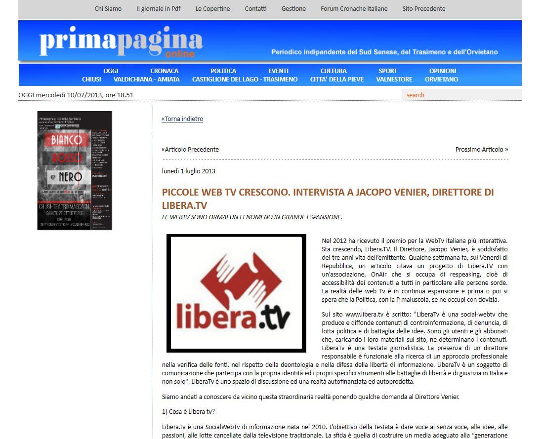 LIBERA TV – Ne parla Prima Pagina e Venerdi' di Repubblica