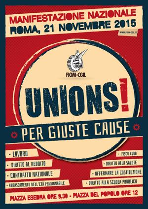 UNIONS : La FIOM in piazza per il Lavoro e la Pace