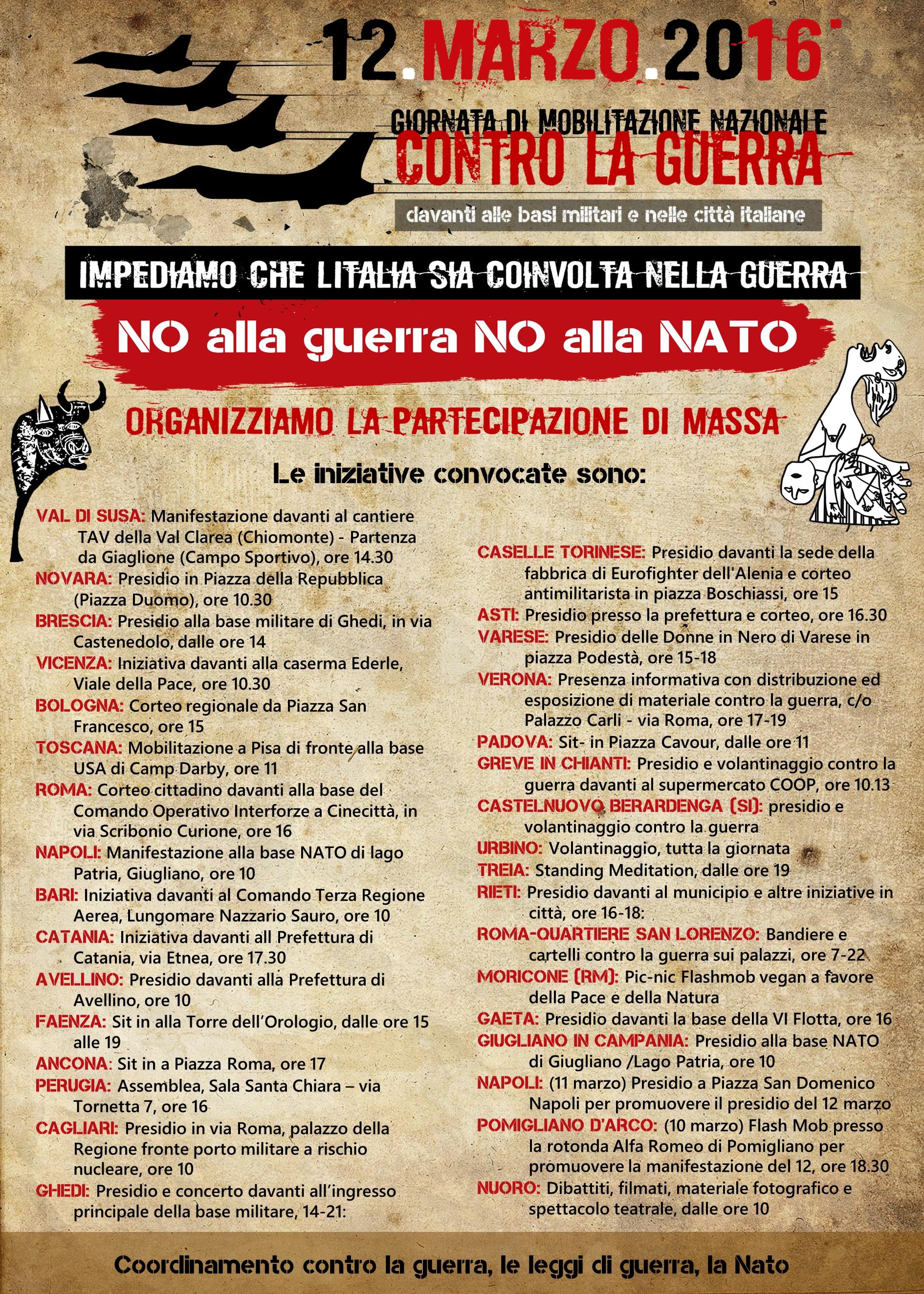 Sabato 12 Marzo in tutt'Italia mobilitazioni contro la guerra e contro la NATO
