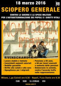 Manifesto per lo Sciopero 18.03.2016 - Sindacati di Base