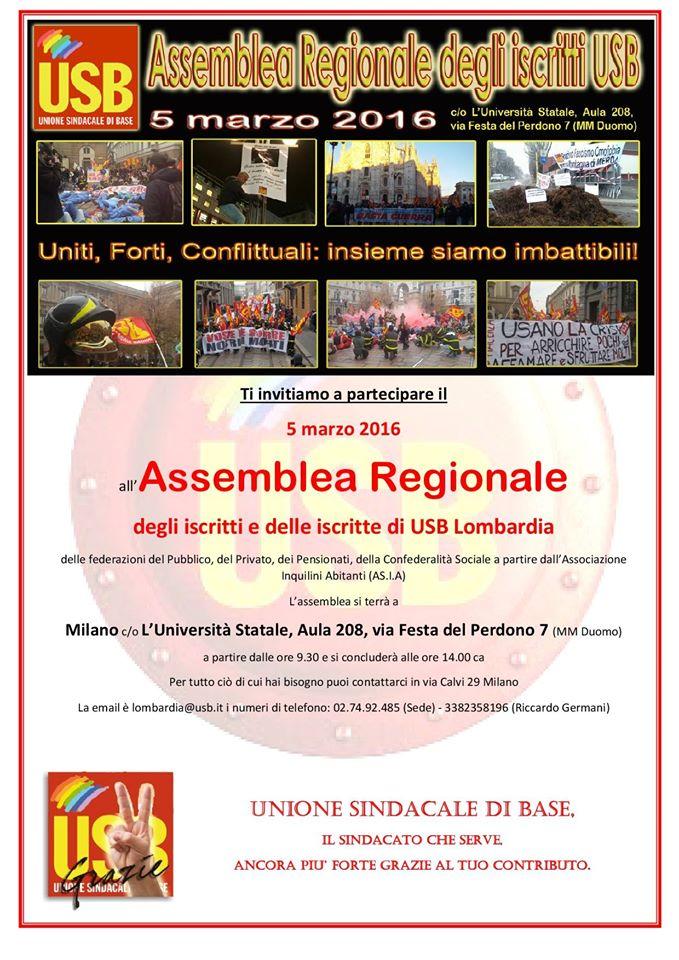 5 marzo: Assemblea regionale delegati e iscritti USB della Lombardia