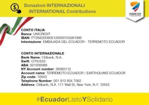 Donazioni internazionali terremoto Ecuador