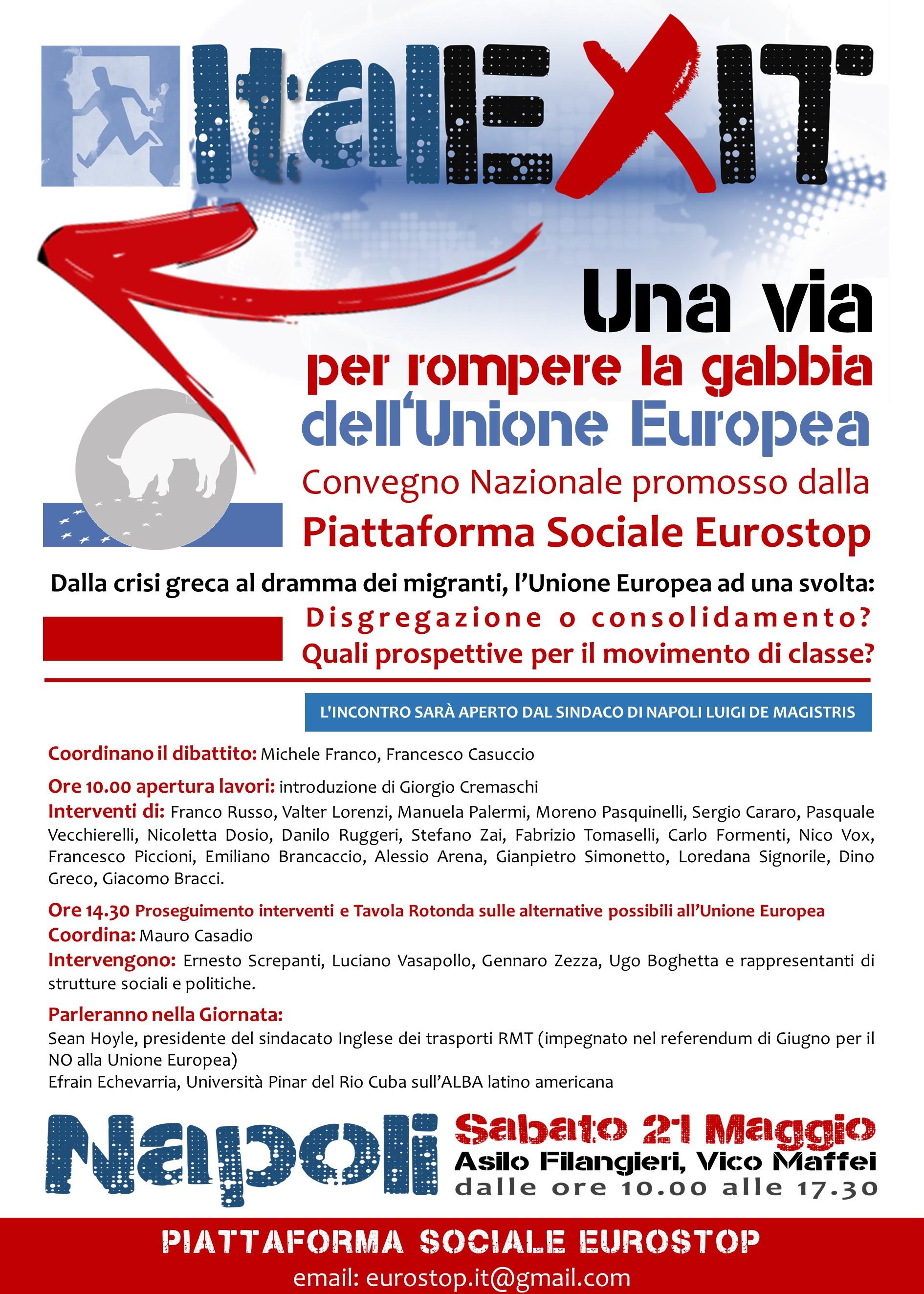 ITALEXIT: NAPOLI SABATO 21 MAGGIO 2016 ORE 10